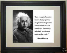 "Albert Einstein "" imagination is more important"" Quote Framed Photo Picture #df2"