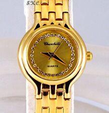 Oro 18k pltd Deco Gema señoras correa clásica, Dress Watch W / Cristales Swarovski