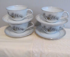 NARUMI JAPAN CHINA PATTERN SILVER PINE 4 SETS  CUPS AND SAUCERS