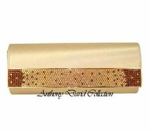 Anthony David Gold Satin Evening Bag Handbag Purse w/ Swarovski Crystal - ADD26