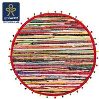 ⭐Round Pom Pom Cotton Braided Chindi Rag Rug 90cm Multicolour Rainbow Fair Trade