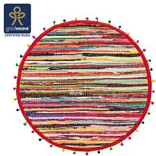 Fair Trade Round 90cm Cotton Chindi Rag Rug Multicolour Braided Rainbow Pom Pom