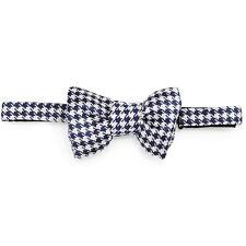 Tom Ford Blue & Cream Houndstooth Jacquard Print Silk Bow Tie BRAND NEW $250 NWT