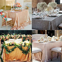 120x180cm Sequin Tablecloth Rectangle Designed Wedding Party Champagne
