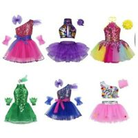 Girls Sequin Ballet Dance Dress Gymnastic Leotard Ballerina Tutu Skirt Costume