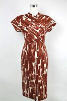 $2180 Bottega Veneta Women's Orange/White Pattern Dress 312356 9814