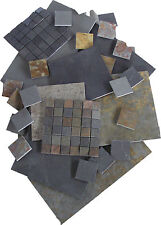 Brazilian Calibrated Slate Tile Samples - Black, Grey/Green, Multicolour