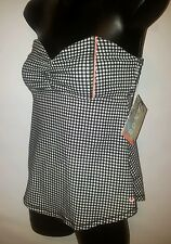 ROXY SWEETHEART STRAPLESS CHECK EMPIRE WAIST SURF BEACH TOP SIze SMALL NWT
