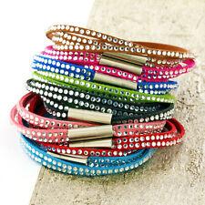 Womens Leather Bracelet, Beaded Bracelet, Multi Row Wristband, Girls Bracelet