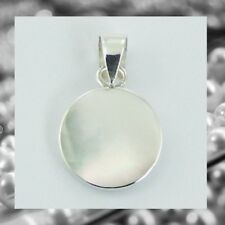Sterling silver pendant shell Small Round mother of pearl Diameter 10mm Circle