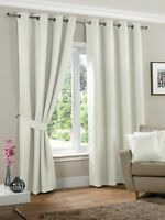 Neva Cream Eyelet Ready Made Fully Lined Light Reducing Curtains (Off White)