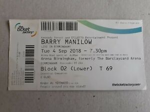 Barry Manilow Used Concert Ticket 2018