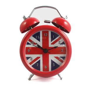 Super Loud British London Flag No ticking Metal Table Desk Alarm Clock Backlight