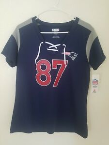 New NFL Team Apparel New England Patriots #87 Rob Gronkowski V-Neck Shirt Womens