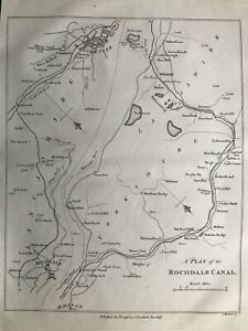 1795 Antique Map; Plan of the Rochdale Canal after Mutlow