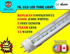 "F30T8 F30T12 Replacement LED Tube Light 3 Feet (35.67"") 15 Watt Clear Lens Bulb"