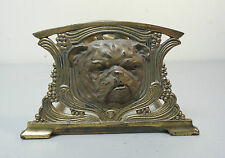 UNUSUAL ANTIQUE ART NEAUVEAU ADJUSTABLE BRASS BOOK RACK w/ RARE BULLDOG DESIGN