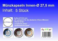 5 Münzkapseln 27,5mm, geeignet für 5 Euro Münze...