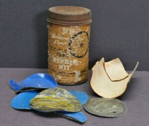 Vtg Western Flyer Bicycle Tube Repair Kit Container Tin w/ Contents Shown KC MO