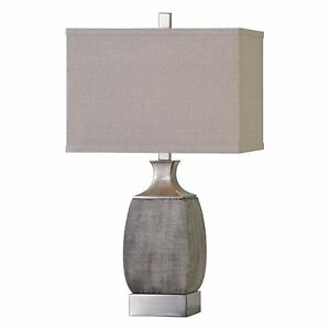 Textured Rust Bronze Gray Table Lamp | Silver Contemporary Industrial Elegant