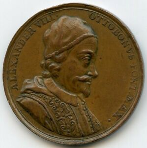 PAPAL STATES VATICAN POPE ALEXANDER VIII BRONZE MEDAL 37MM 21G