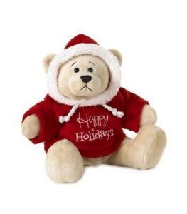 """Happy Holidays Hoodie Teddy Bear Ganz Plush Toy Stuffed Animal Christmas 9"""""""