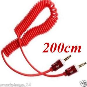 3.5mm Audio aux kabel Kopfhörer iphone Klinke auf Klinke Stereo Spirale Spring R
