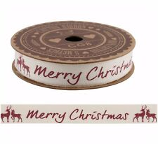 Shabby Chic Merry Christmas Red Stag 100% Cotton Ribbon 5m Spool Craft Gift Wrap