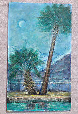"Original Joseph Hastings Bennett Painting Acrylic on Masonite  ""Palm Trees"""
