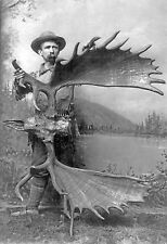 "1887 antique hunting photo, Large Moose antlers, skull,  ALASKA, 16x11"""