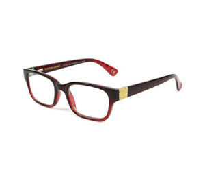 Foster Grant Reading Glasses Womens New Roxanna Red Gold Fashion Designer Reader