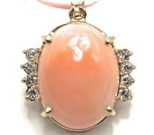 Coral Diamond Pendant 14K Yellow Gold Large Oval 25mm x 18mm