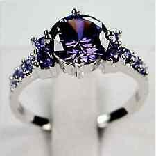 Acero Inoxidable 1.22CT corte redondo zirconia anillo de compromiso de boda para mujer Talla 5-10