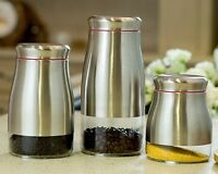 3tlg Aufbewahrungsdosen 1,8L 1,2L 0,9L Edelstahl Set Vorratsdosen Vorratsglas