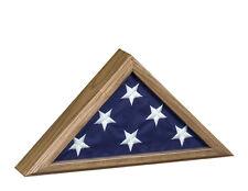 Capital Presentation 3x5 ft FLAG DISPLAY CASE Vintage Oak Glass Front USA Made