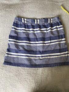 Lovely Fat Face Blue White Stripe Summer Skirt Size 14 Pockets Elasticated Waist