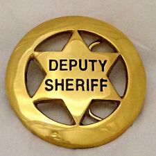 Deputy Sheriff Six Point Star Badge Belt Buckle (Brass)