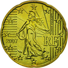 [#463465] France, 20 Euro Cent, 2007, MS(63), Brass, KM:1411