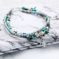 Starfish Turquoise Bead Sea Turtle Anklet Chain Beach Sandal Ankle Bracelet Boho