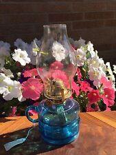 "ANTIQUE CORNFLOWER BLUE FINGER LAMP Brass Collar Burner Wick GLASS Chimney 10.5"""