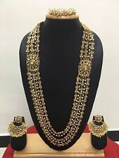 Bollywood Indian Designer Ethnic Gold Plated CZ Pearl Fashion Jewelry Set