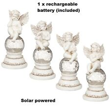 New Solar powered Cherub Sitting on Solar Crackle Ball Light