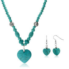 "24"" Simulated Turquoise Howlite Necklace w/ Heart Shape Pendant and Earring Set"