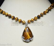 10mm Natural Yellow Tiger's Eye Round Gemstone Beads Drop Pendant Necklace 18''