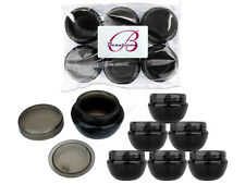 6 Pieces 10 Gram/10ml Black Round Frosted Sample Jars with Inner Liner and Lid