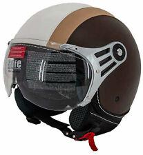 Jethelm Motorradhelm Rollerhelm 3-Farbig Kunst-Leder Applikationen XS-XL