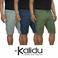 Bermuda Uomo Cargo Pantalone corto Cotone Tasche Laterali Shorts Casual