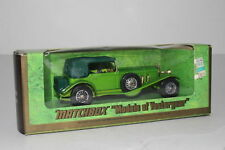 MATCHBOX LESNEY MODELS OF YESTERYEAR #Y-16 1928 MERCEDES SS COUPE, GREEN, BOXED
