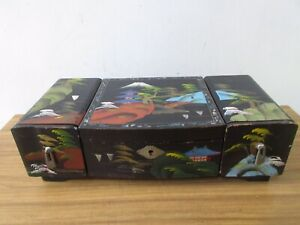 VINTAGE CHINESE  JAPANESE STYLE PAINTED WOODEN JEWELLERY MUSIC BOX WITH KEY.