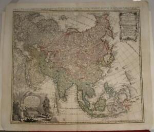 ASIAN CONTINENT 1744 HOMANN HEIRS & HAAS ANTIQUE ORIGINAL COPPER ENGRAVED MAP
